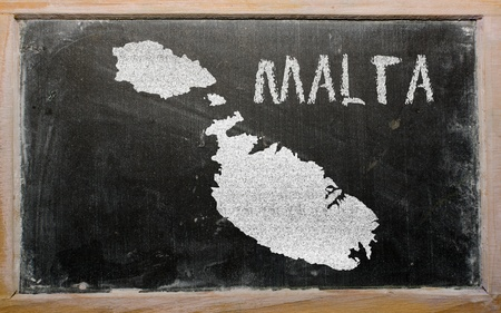 maltese map: drawing of malta on chalkboard, drawn by chalk Stock Photo