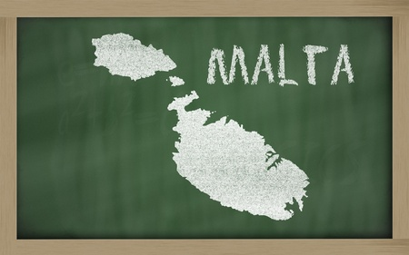 drawing of malta on chalkboard, drawn by chalk Stock Photo - 12173197