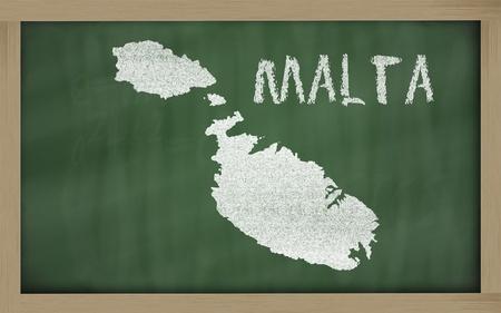 drawing of malta on chalkboard, drawn by chalk Stock Photo - 12173197