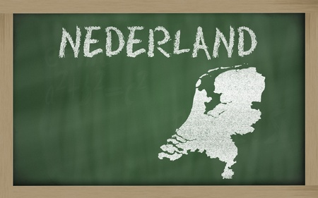 drawing of netherlands on chalkboard, drawn by chalk Stock Photo - 12173198