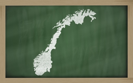 drawing of norway on chalkboard, drawn by chalk Stock Photo - 12173078