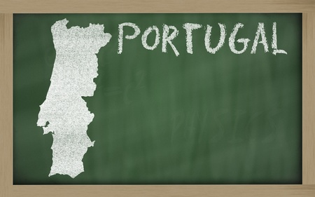drawing of portugal on chalkboard, drawn by chalk Stock Photo - 12173195