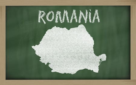 drawing of romania on chalkboard, drawn by chalk photo