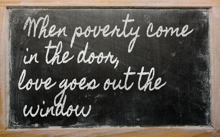 come in: handwriting blackboard writings -   When poverty come in the door, love goes out the  window