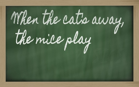 handwriting blackboard writings - When the cat's away, the mice play