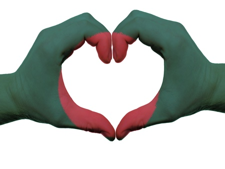 bangladesh: Gesture made by bangladesh flag colored hands showing symbol of heart and love, isolated on white background Stock Photo