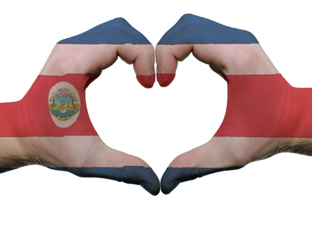 costa rican: Gesture made by costa rica flag colored hands showing symbol of heart and love, isolated on white background