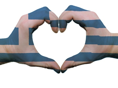 Gesture made by greece flag colored hands showing symbol of heart and love, isolated on white background