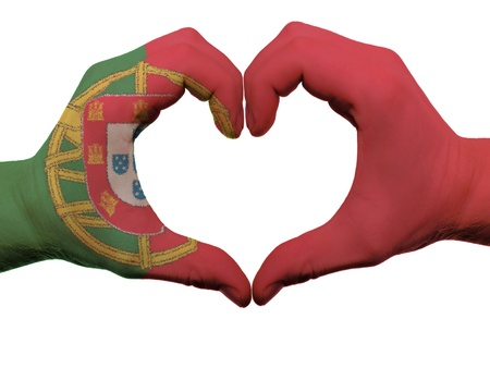 made in portugal: Gesture made by portugal flag colored hands showing symbol of heart and love, isolated on white background