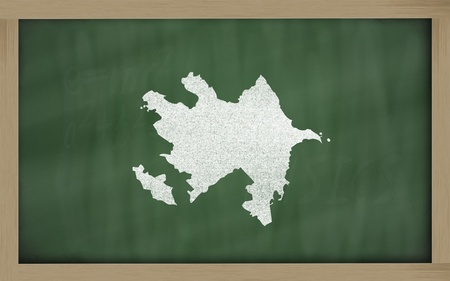azerbaijanian: drawing of azerbaijan on blackboard, drawn by chalk Stock Photo