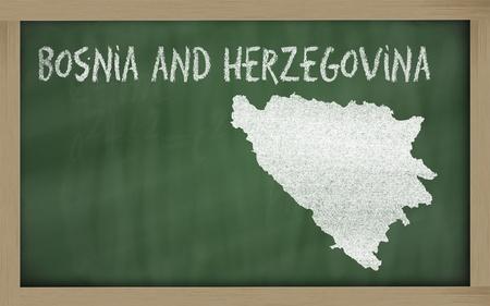 herzegovina: drawing of bosnia herzegovina on blackboard, drawn by chalk
