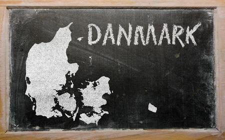 drawing of denmark on blackboard, drawn by chalk