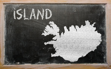 iceland: drawing of iceland on chalkboard, drawn by chalk Stock Photo