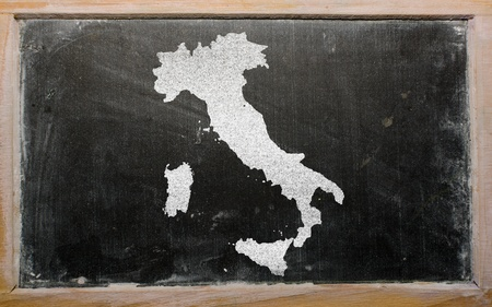 drawing of italy on chalkboard, drawn by chalk photo