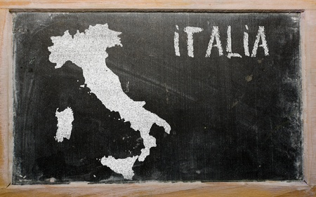 drawing of italy on chalkboard, drawn by chalk