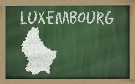 luxembourg: drawing of luxembourg on chalkboard, drawn by chalk