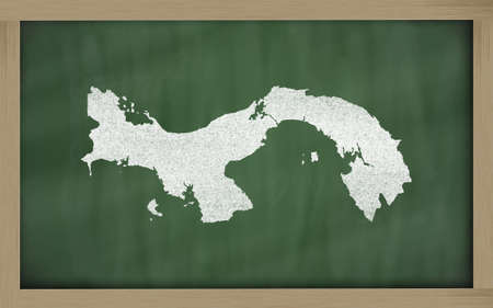 panamanian: drawing of panama on blackboard, drawn by chalk