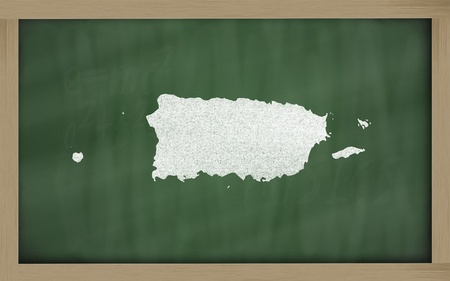 drawing of puerto rico on blackboard, drawn by chalk