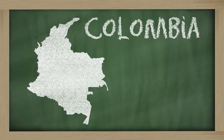 tekening van colombia op het bord getekend door krijt Stockfoto