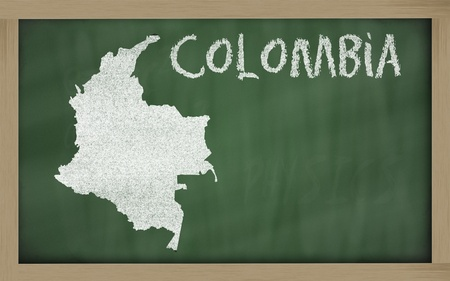 drawing of colombia on blackboard, drawn by chalk