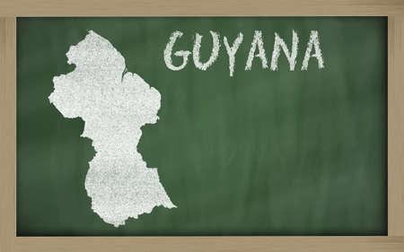 tekening van Guyana op het bord getekend door krijt