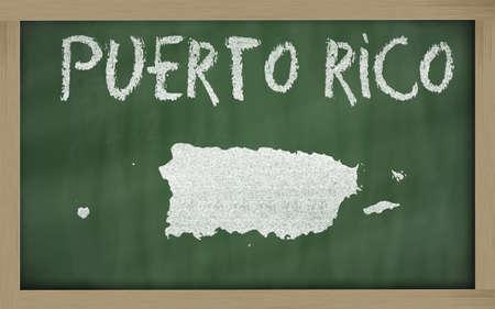 puertorico: drawing of puerto rico on blackboard, drawn by chalk