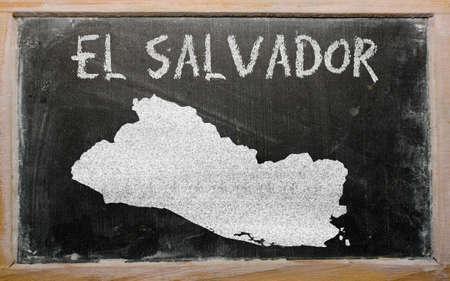 el salvadoran: drawing of el salvador on blackboard, drawn by chalk Stock Photo
