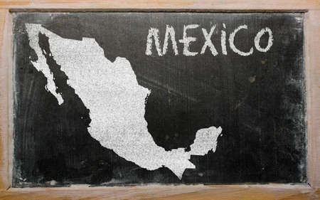 drawing of mexico on blackboard, drawn by chalk Stock Photo - 12500183