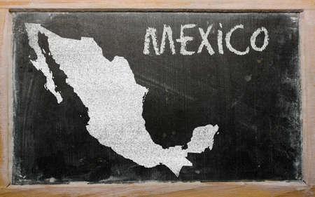 onderwijs: tekening van Mexico op het bord getekend door krijt Stockfoto