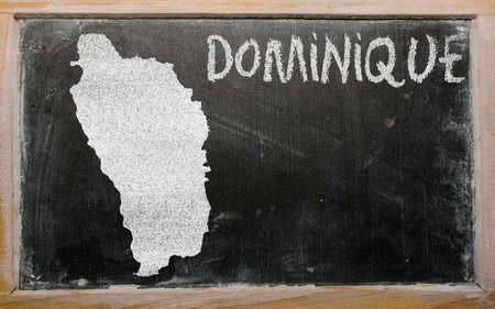 drawing of dominica on blackboard, drawn by chalk photo