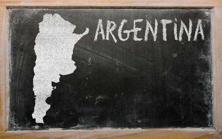 drawing of argentina on blackboard, drawn by chalk photo