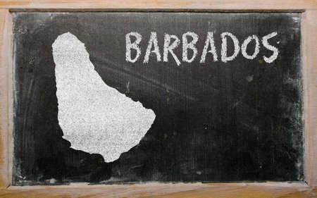 barbadian: drawing of barbados on blackboard, drawn by chalk Stock Photo