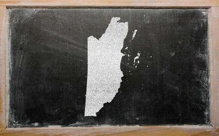 drawing of belize on blackboard, drawn by chalk