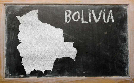 bolivia: drawing of bolivia on blackboard, drawn by chalk
