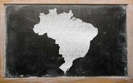 drawing of brazil on blackboard, drawn by chalk Stock Photo - 12500118