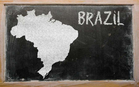 drawing of brazil on blackboard, drawn by chalk photo
