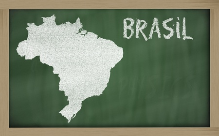 drawing of brazil on blackboard, drawn by chalk Stock Photo