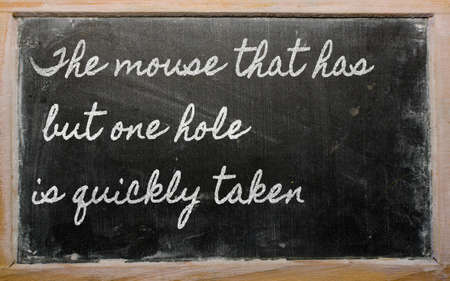 has: handwriting blackboard writings - The mouse that has but one hole is quickly taken
