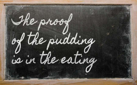 prudent: handwriting blackboard writings - The proof of the pudding is in the eating
