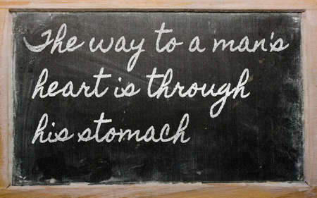 handwriting blackboard writings - The way to a mans heart is through his stomach