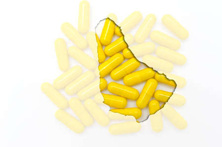 barbadian: Outline barbados map with transparent background of capsules symbolizing pharmacy and medicine