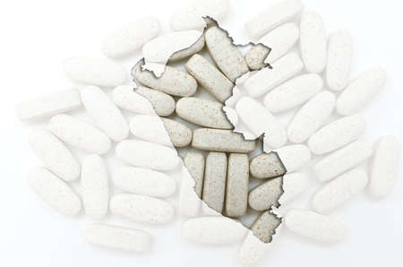 peru map: Outline peru map with transparent background of capsules symbolizing pharmacy and medicine Stock Photo