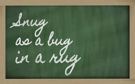 prudent: handwriting blackboard writings - Snug as a bug in a rug