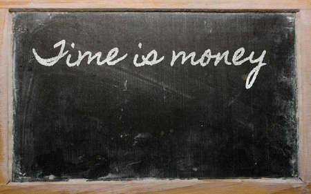 handwriting blackboard writings - Time is money Фото со стока