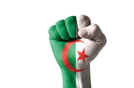 algerian flag: Low key picture of a fist painted in colors of algeria flag Stock Photo