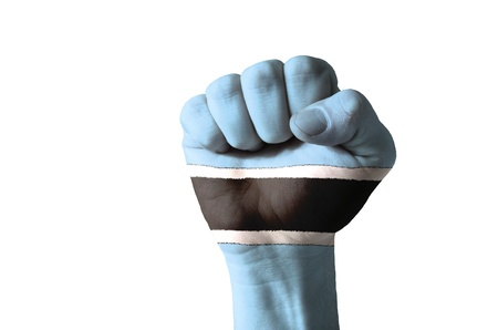 botswanan: Low key picture of a fist painted in colors of botswana flag