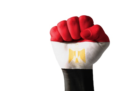 aggressor: Low key picture of a fist painted in colors of egypt flag