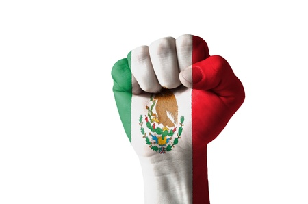 Low key picture of a fist painted in colors of mexico flag