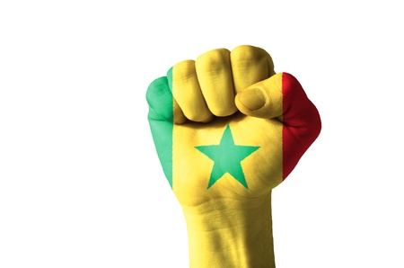 Low key picture of a fist painted in colors of senegal flag