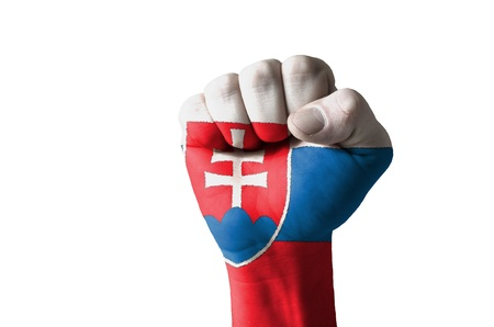 slovak: Low key picture of a fist painted in colors of slovakia flag